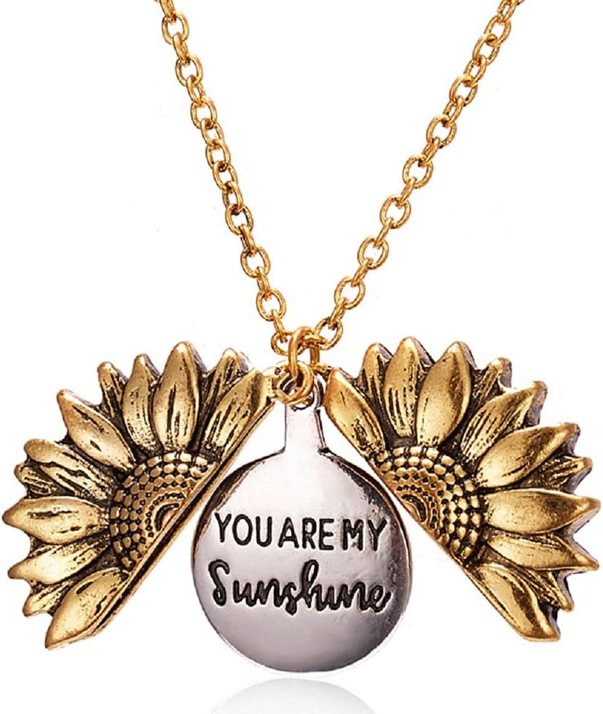 GUAGLL Women's Necklace Sunflower Double Letter Pendant Gifts Family Friends Birthday Christmas Valentine's Day