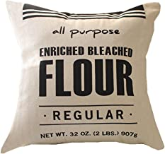 Easternproject Vintage Throw Pillow Case Burlap Feed Sack Cotton Linen Square Cushion Cover for Farmhouse Office 18x18 Inches (Flour)