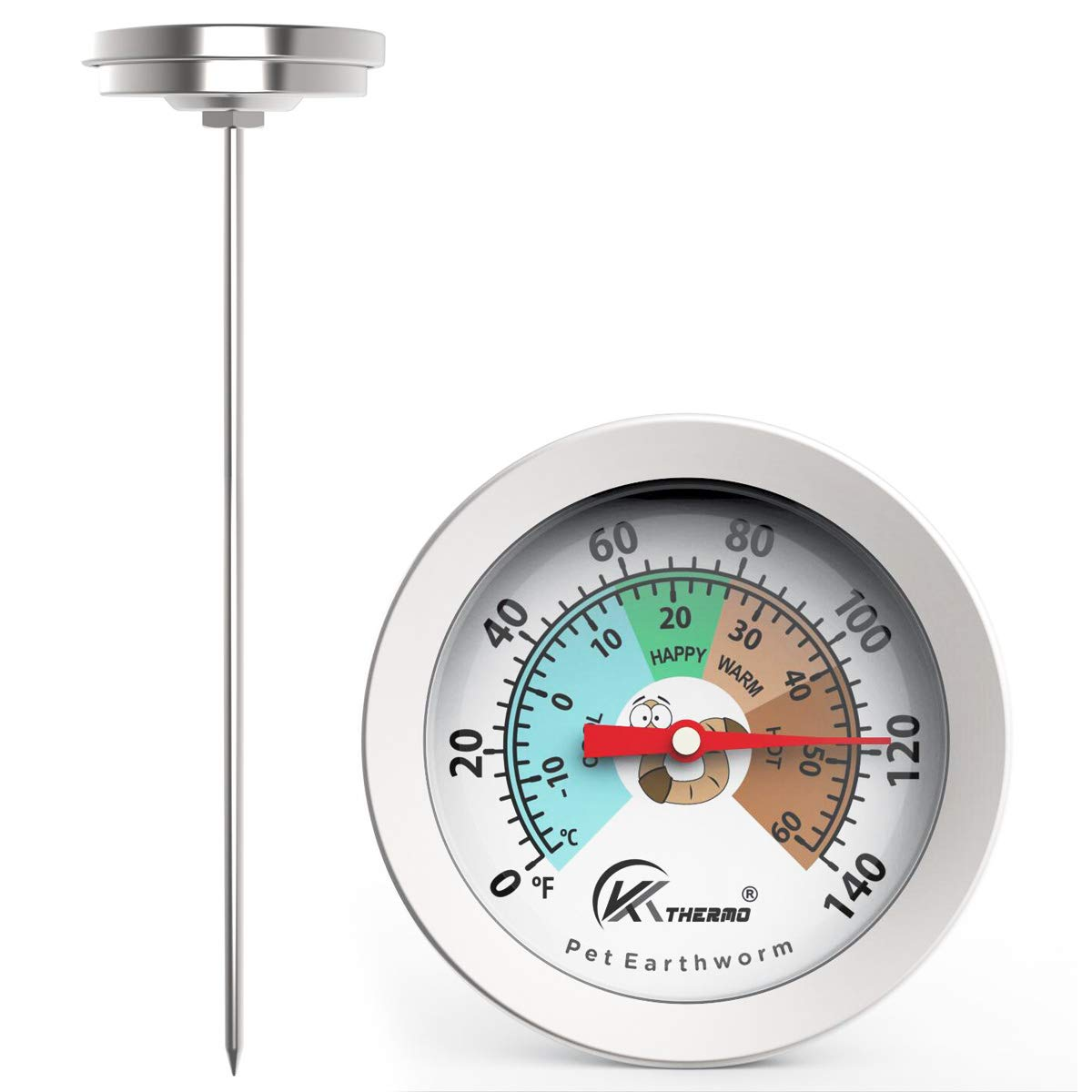 Black, 2 Inch Worm Soil Thermometer Keep Microbes and Worms Happy for Gardening and Worm Composting
