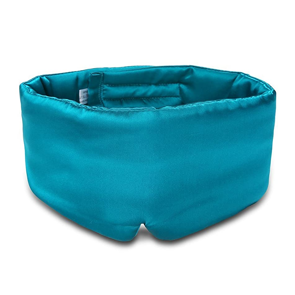 100% Mulberry Silk Sleep Mask Eye Mask for Man and Woman with Adjustable Headband, Full Size Large Sleep Mask & Blindfold for Total Blackout for All Night Sleep, Travel & Nap- Peacock Blue
