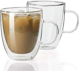 لیوان قهوه قهوه Sweese 4602 - 12.5 اونس لیوان عایق دو جداره با دستگیره ، مناسب برای لاته ، آمریکاییو ، کاپوچینوس ، چای کیسه ای ، نوشیدنی ، ست 2