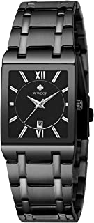 WWOOR Men's Watch Square with Date Original Waterproof Analog Quartz Stainless Steel Fashion Business Casual Gift Watch Wristwatch Unisex (Black&Gold Black))