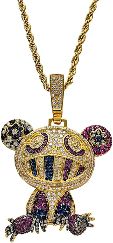 Moca Jewelry Iced Out Color Frog Pendant 18K Gold Plated Chain Bling CZSimulated DiamondHip Hop Necklace for Men Women
