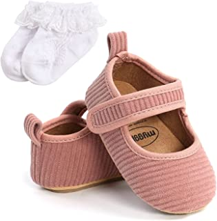 Baby Girl Princess Shoes + Socks Newborn Crib Shoes Cotton Anti-Slip Sole Toddler First Walkers 0-18M (Baby Age : 7-12 Mon...