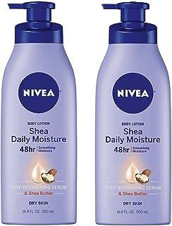 NIVEA Shea Daily Moisture Body Lotion - 48 Hour Moisture For Dry Skin - 16.9 fl. oz. Pump Bottle- 2 Pack