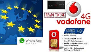 Vodafone NL | 4G/LTE Europe Prepaid SIM | free 4G data Roaming in: 31 countries (EU + EEA) | Tethering, VoIP, Skype available | 3 in 1 Sim Card (€0 + 25% on 1st recharge)
