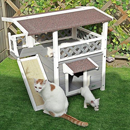 Petsfit katzenhütte aus Massivholz Outdoor wetterfeste Katzenhaus mit Asphalt Dach isoliertes Katzenhaus Winterfest mit Terrasse & Treppe