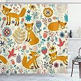 U255uy Fuchs-Duschvorhang, natürliche Tierzusammensetzung mit Füchsen, verzierte Blumen, fliegende Vögel, Kinderzimmer, Stoffstoff, Badezimmer-Dekor-Set mit Haken, H: 180 cm, B: 180 cm, creme-orange