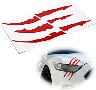 iJDMTOY (1) Reflective Red Headlight Eye Scar or Claw Scratch Shape Vinyl Decal Set For Car Truck SUV