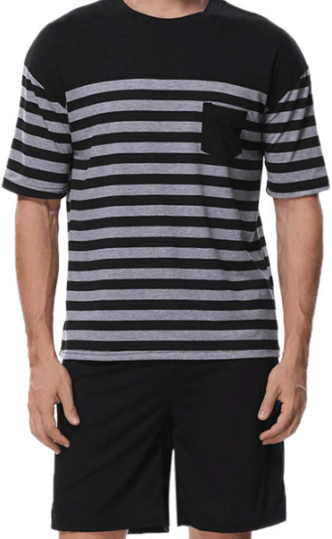Men'S Sleeve Cotton Shirt And Pants Pajamas Pjs Sleepwear Lounge Set Black M