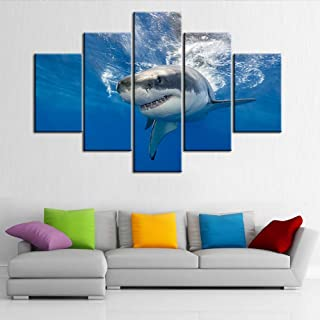 "TUMOVO 5 Piece Animal Pictures on Canvas 60""W x 40""H Blue"