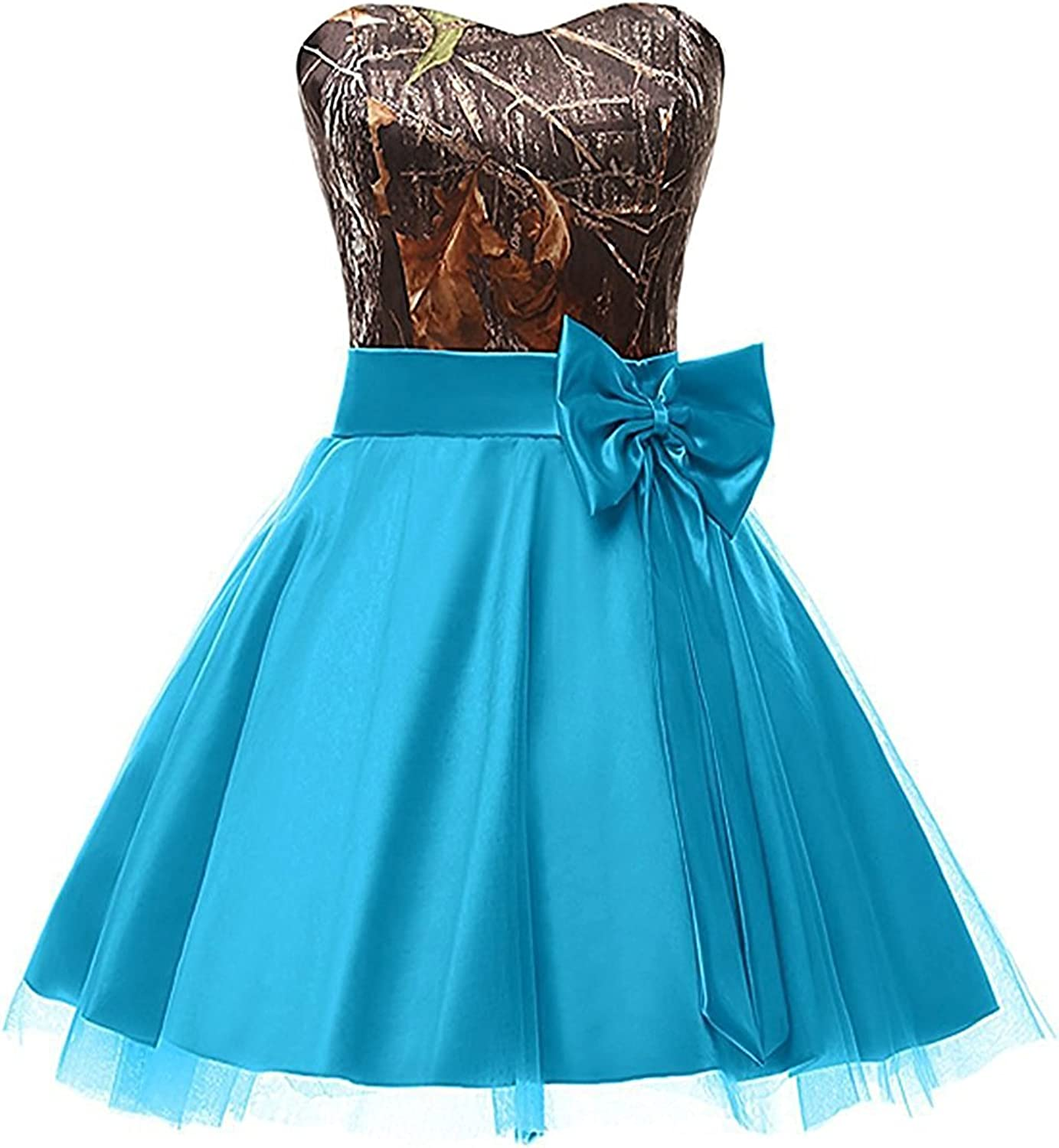 QY Bride Prom Homecoming Dresses Camo Wedding Party Bridesmaid Gowns