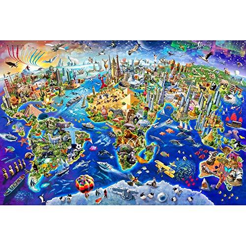 DJHOLI 500 1000 1500 2000 3000 4000 5000 6000 unidades grandes adultos de los niños de madera rompecabezas Puzzles de suelo - Mapa del mundo de la historieta, juego de aprendizaje intelectual Educació