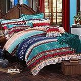 FADFAY 4Pcs Queen Bohemian Duvet Cover Set Vintage Boho House Bedding Sets Retro Floral Sheet Sets Winter 100% Brushed Cotton Exotic Comforter Cover Sets (1 Flat Sheet,1 Duvet Cover,2 Pillowshams)