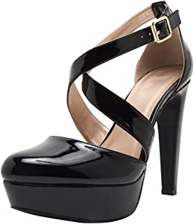 Cambridge Select Women's Crisscross Buckled Ankle Strap Chunky Platform High Heel Pump