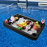 Polar Whale Extra Large Floating Bar Table Serving Buffet Tray Drink Holders for Swimming Pool or Beach Party Float Lounge Refreshment Durable Black Foam UV Resistant with Cup Holders 36 Inches Wide