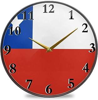 Bardic Bandera nacional de Chile reloj de pared con pilas Números grandes fáciles de leer. Ideal para cualquier habitación en casa, comedor, cocina, oficina, escuela.