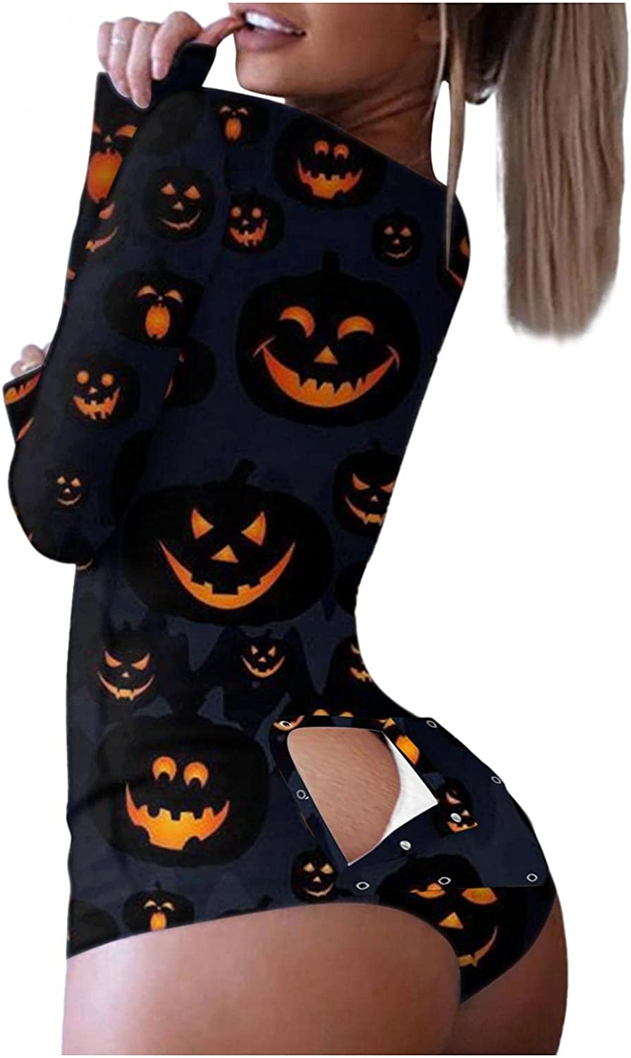Masbird Halloween Jumpsuits for Women,Sexy Button-Down Print Functional Buttoned Flap Adults Lingerie Chemises Sleepwear