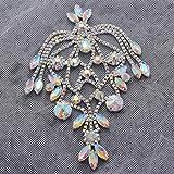 1 pieza parches de hombro superiores pedrería de cristal cristal AB vestido de novia apliques de flecos decoraciones decorativas para boda, cristal AB