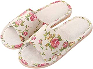 Household Linen Slippers, Ladies Breathable Deodorant Antibacterial Sweat-Absorbing Open-Toe Floor Slippers Used in The Garden, Women