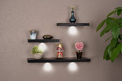 high quality SkyMall Versatile Wood Floating Wall high quality new arrival Shelves with LED Lights - Black (Set of 3) online sale