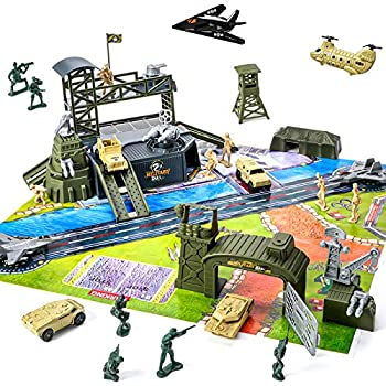 47 Pieces Military Base Set Army Men Playset with Vehicles Accessories,Soldier Army Men and Play Map,Mini Army Toy Tank,Warplane,Helicopter Playset Plastic Christmas Toys Gifts for Kids Boys
