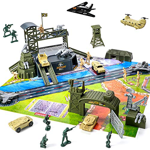 47 Pieces Military Base Set, Army Men Playset with Vehicles Accessories,Soldier Army Men and Play Map,Mini Army Toy Tank,Warplane,Helicopter Playset Plastic Christmas Toys Gifts for Kids Boys
