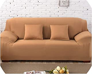 Fyttq Plain Solid Pattern Slipcovers Sofa Cover Stretch Sofa Covers for Living Room Couch Cover Sofa Towel Chair Sofa Cover funda Sofa,Khaki,A-B 145-185cm