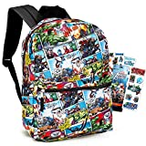 Marvel Avengers Backpack for Boys Girls Kids -- 2 Pc Bundle with 16' Marvel Comics Avengers School Backpack Bag And Stickers (Avengers School Supplies)