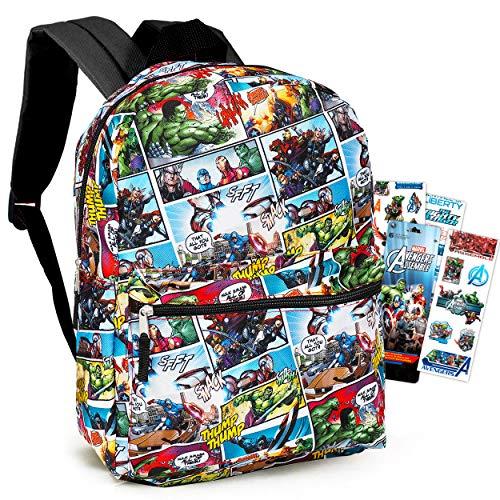 Marvel Avengers Backpack for Boys Girls Kids - 16' Marvel Comics Avengers School Backpack Bag Bundle with Stickers (Avengers School Supplies)