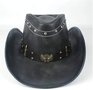 TX GIRL Western Cowboy Hat Unisex Men Women Leather Western Cowboy Hat Winter Outdoor Travel Outblack Jazz Sombrero Cowgirl Cap Size 58-59CM Black Novelty Party Costumes