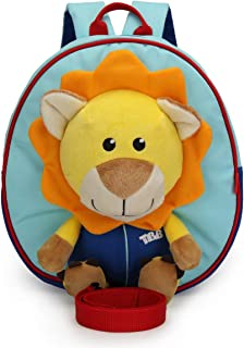 Baby Cartoon Backpack Anti-Lost Shoulder Bags for 1-3 Years Old Kids Toddlers,Safety Harness Backpack with Lion Plush Toys for Kindergarten