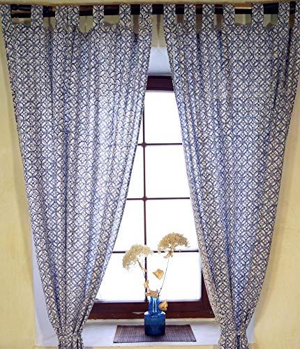 Guru-Shop Gordijn, Gordijn (1 Paar Gordijnen, Gordijnen) met Lussen, met de Hand Bedrukt - Patroon Blauw, Katoen, 290x100x0,2 cm, Gordijnen en Draperieën