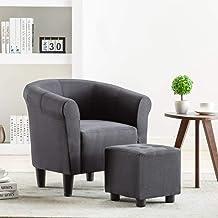 vidaXL 2 Piece Armchair and Stool Set Black Fabric