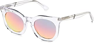 نظارات شمسية للنساء من ديزل DL028326U49 - عدسات عاكسة شفافة/ بوردو - بلاستيك