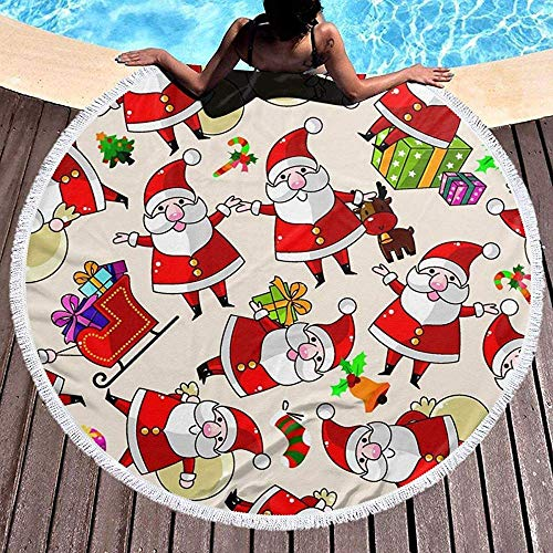 Rundes Strandtuch, Weihnachtskarikatur Weihnachtsmann Hippie Happy Youth Handtuch Extra große sandfeste Decke Yogamatte mit Quasten