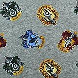 Jersey Stoff Harry Potter, Wappen, meliert, grau (50cm x