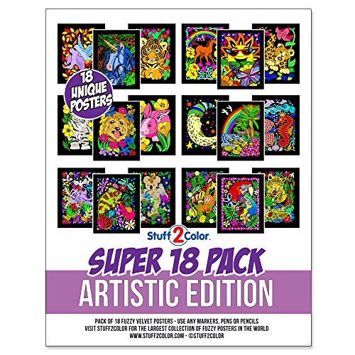 Super Pack of 18 Fuzzy Velvet Coloring Posters (Artistic Edition) - Great for Family Time, Arts & Crafts, Travel, Classrooms, Care Facilities [For All Ages: Girls, Boys, Adults, Toddlers, and More]