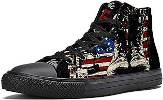 LORVIES American Veteran US Maps Bottes et Arme Baskets Montantes en Toile pour Hommes Chaussures de Sport