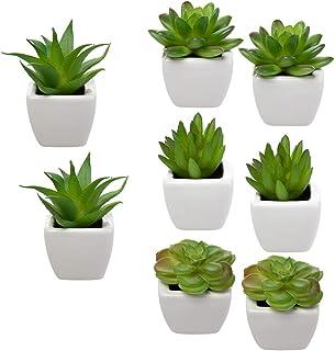 Home Trends Set of 8 Green Succulents Artificial, Mini Succulent Plants, Faux Succulents..