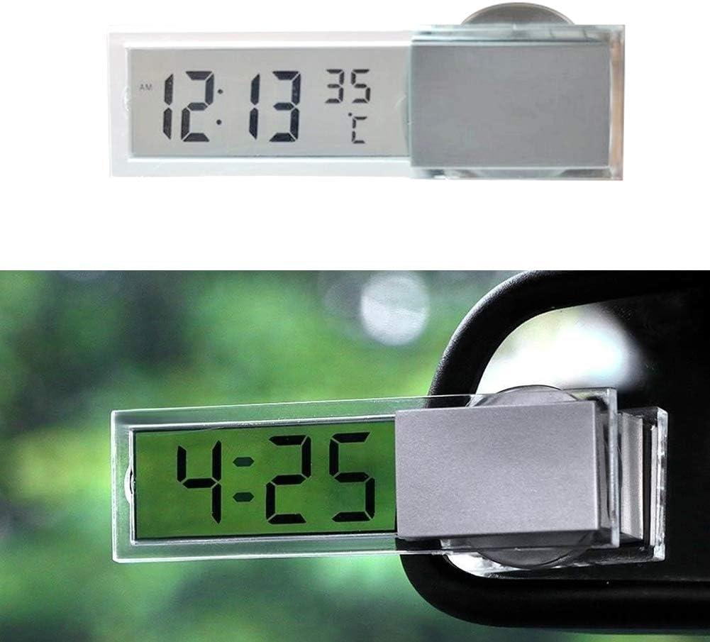 Enticerowts Kompakte Größe Uhr Thermometer Auto Saugnapf Lcd Zeit Temperatur Anzeige Elektronische Digital Uhr Thermometer Clear Display Silber Küche Haushalt