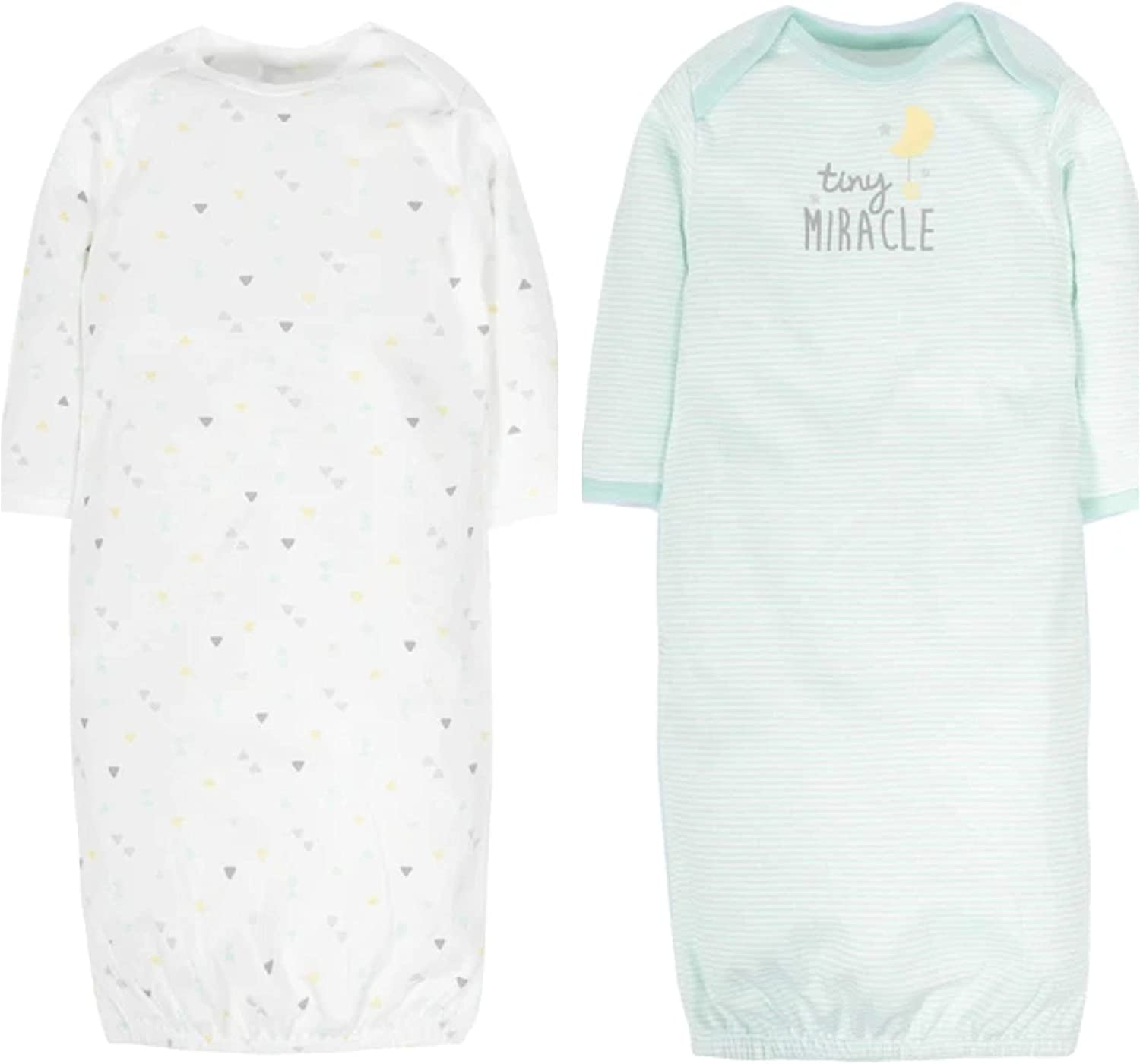 Gerber Baby Neutral 2 Pack Gown 0-6 Months 67% OFF of fixed price depot Tiny Teal Miracle