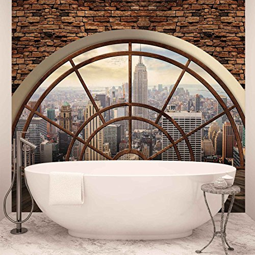 New York City Skyline Fenster - Forwall - Fototapete - Tapete - Fotomural - Mural Wandbild - (2397WM) - XXL - 312cm x 219cm - VLIES (EasyInstall) - 3 Pieces