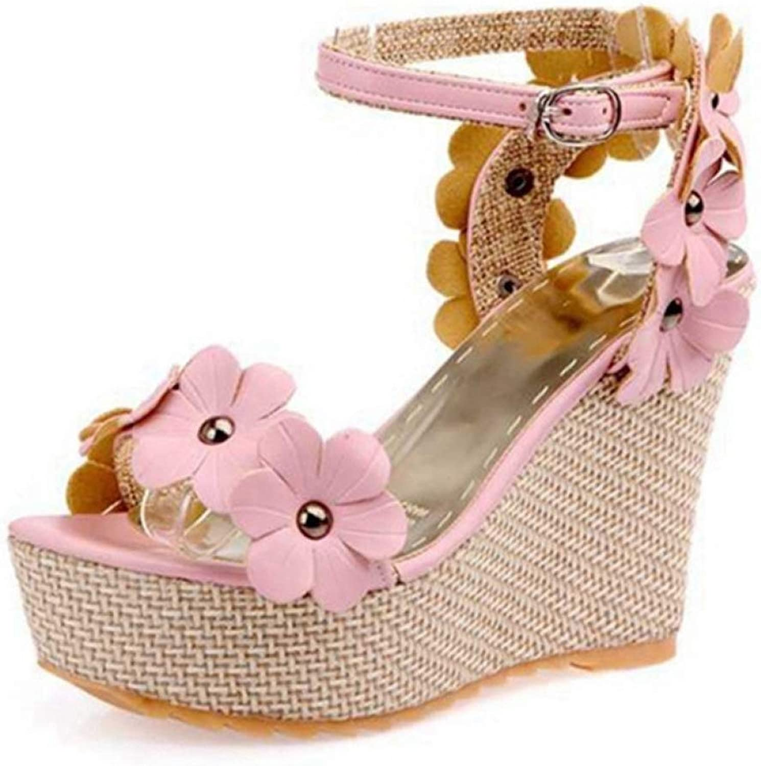Hoxekle Summer Women Sandals Wedges Flower Buckle Platforms bluee Pink White Sweets Fashion Party Ladies Female shoes