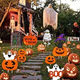 Halloween Yard Signs 8 Pack Skeleton and Ghost Corrugate, Outdoor Lawn Garden Stake Decorations Track or TreatStake, Large Pumpkin Family Friendly Halloween Yard for Party Thanksgiving Decorations