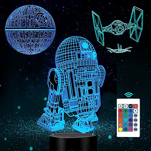 Fariy Skye 3D LED Star Wars Night Light, 3D Illusion Lamp Three Pattern and 16 Color Change Decor...