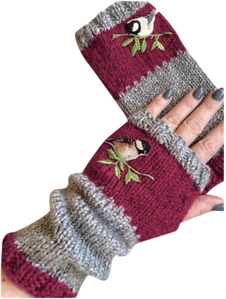 Evangelia.YM Women's Half Fingers Mittens Gloves Fashion Flowers Plant Embroidery Winter Warm Thicken Knitting Gloves Plus Velvet Outdoor Sports Gloves (Wine)