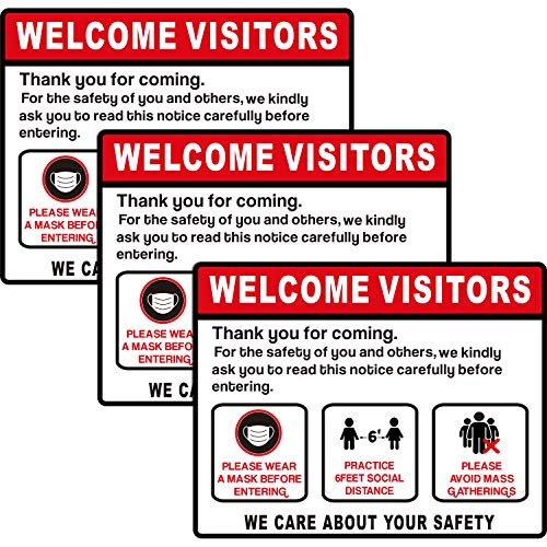 Social Distancing Window Door Sign 6 Feet Distance Decal Maintain Distance Notice Sign Security Signage Removable Vinyl Sticker Cling for Mall Bank Store and Office (3)