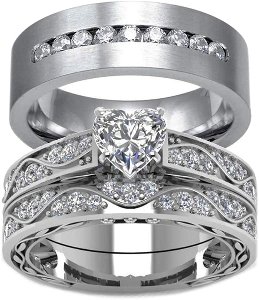 Amazon.com: wedding ring set His Hers Couples Matching Rings Women's 10k  White Gold Filled Heart CZ Wedding Engagement Ring Bridal Sets & Men's  Tungsten Carbide Wedding Band: Jewelry