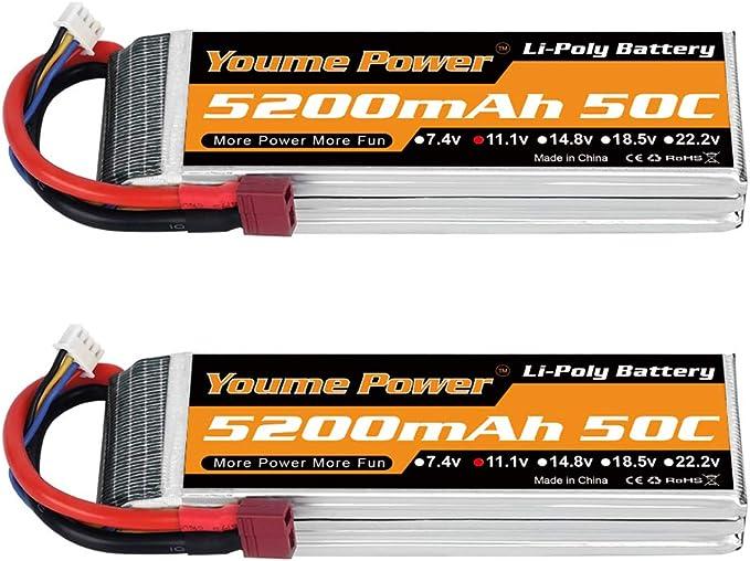 15 opinioni per Youme Power 2 Pack 11.1v Lipo Batteria 5200mAh, 3S Lipo Batteria 50C con Deans T